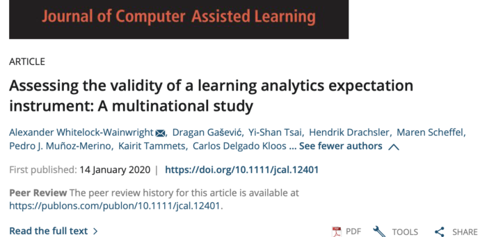 Assessing the validity of a learning analytics expectation instrument: A multinational study