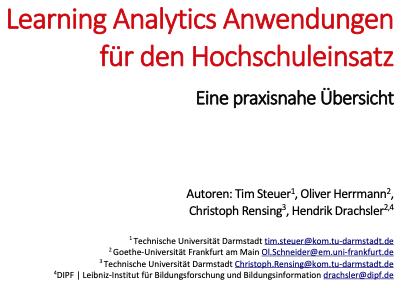 Learning Analytics Anwendungen für den Hochschuleinsatz – Eine praxisnahe Übersicht