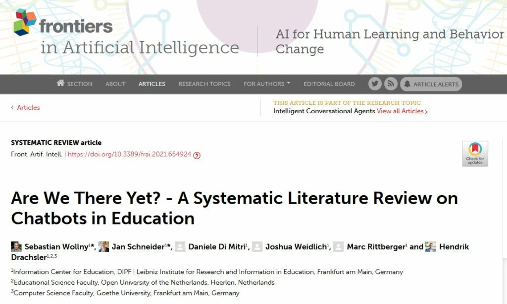 Screenshot of publication in Frontiers in Artificial Intelligence